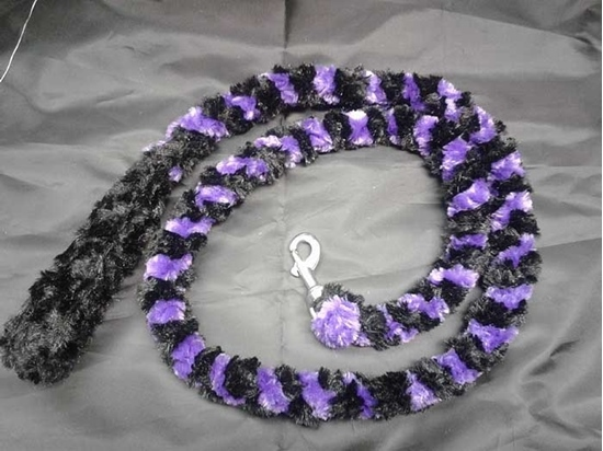 Fuzzy 2 Color Leash made by EMB Monogramming