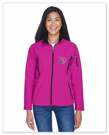 Ladies Plum Rose Soft Shell Jacket Front